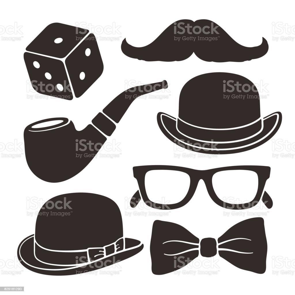 Set of silhouettes gentlemen's vintage accessories vector art illustration