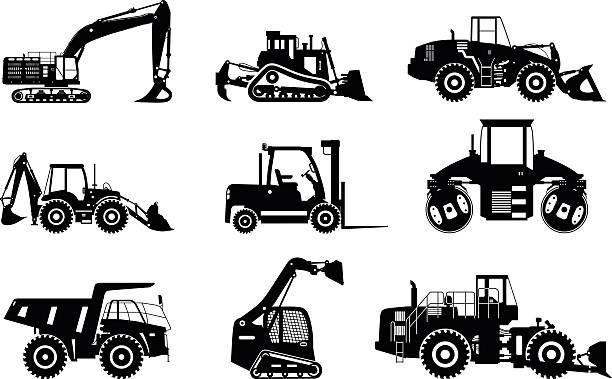 ein satz von silhouetten robuste konstruktion und bergbau-geräten. - bagger stock-grafiken, -clipart, -cartoons und -symbole