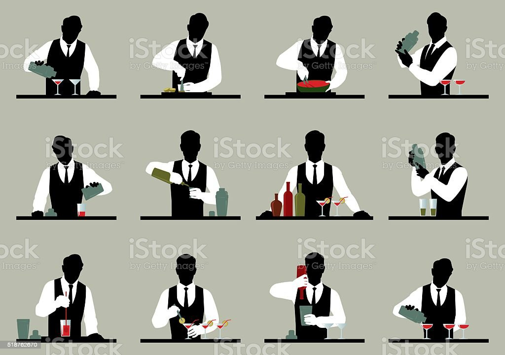 Set of silhouettes of a bartender prepares cocktails Stock vector illustration vector art illustration