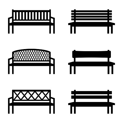 Set of silhouettes of benches, vector illustration