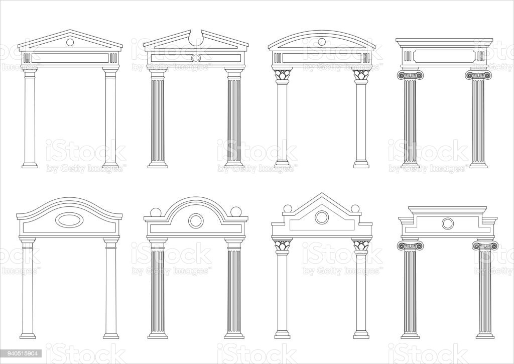 Set of silhouettes of classic arches vector art illustration