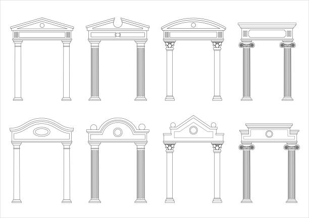 Set of silhouettes of classic arches A set of silhouettes of classic vintage arches and facades. Templates for colorings. Vector graphics. Architectural elements of pediments neo classical stock illustrations