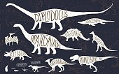 Set of silhouettes of dinosaurs and fossils.