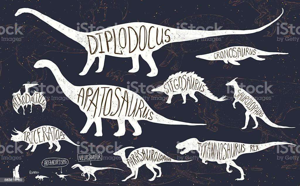 Set of silhouettes of dinosaurs and fossils. - ilustración de arte vectorial