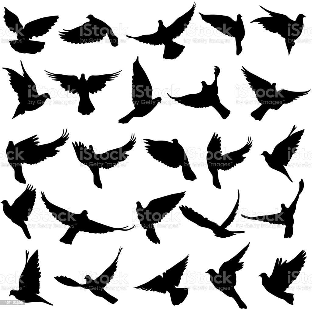 Set of silhouettes of doves. vector art illustration