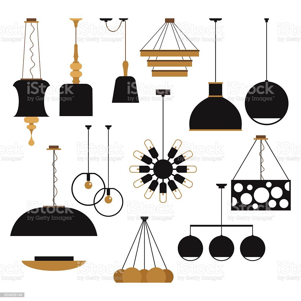 set of silhouettes of household lamps vector art illustration