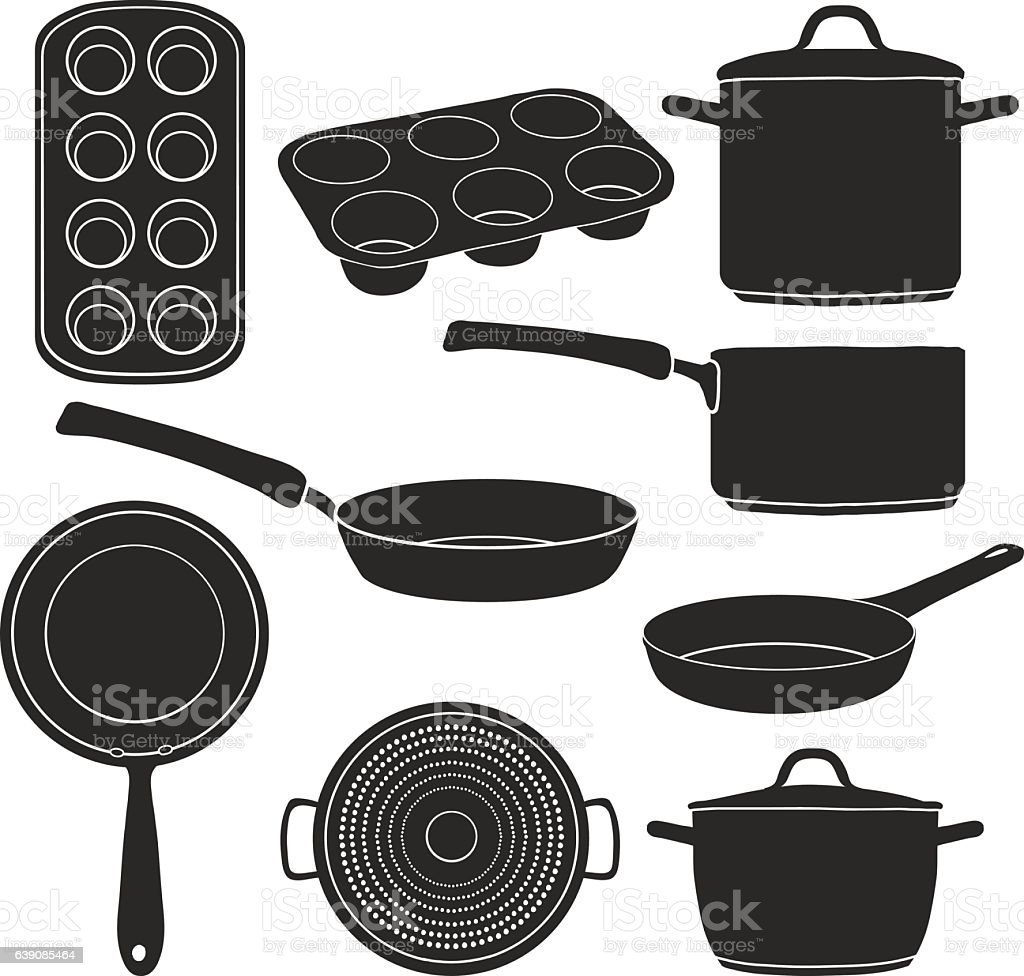 Set Of Silhouettes Kitchen Utensils Stock Illustration Download Image Now Istock