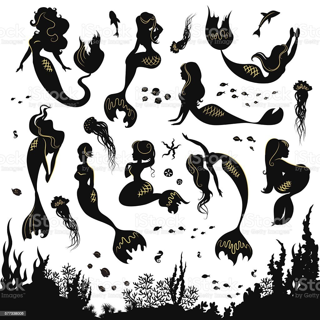 Set of silhouettes of mermaids and sea animals. - ilustración de arte vectorial