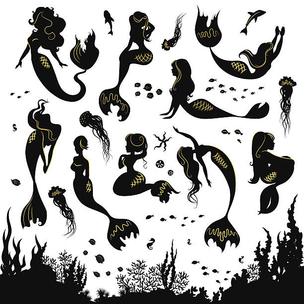 Set of silhouettes of mermaids and sea animals. vector art illustration