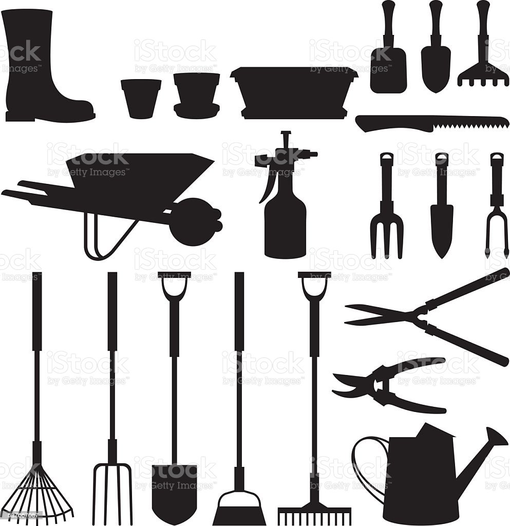 Set of silhouettes of objects garden tools vector art illustration