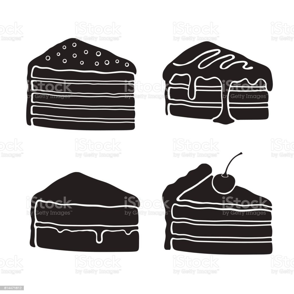 Set of silhouettes of piece of cakes vector art illustration
