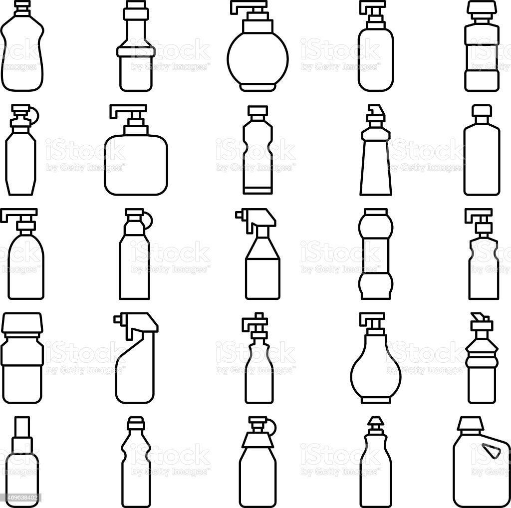 Set of silhouettes of plastic bottles and other containers vector art illustration