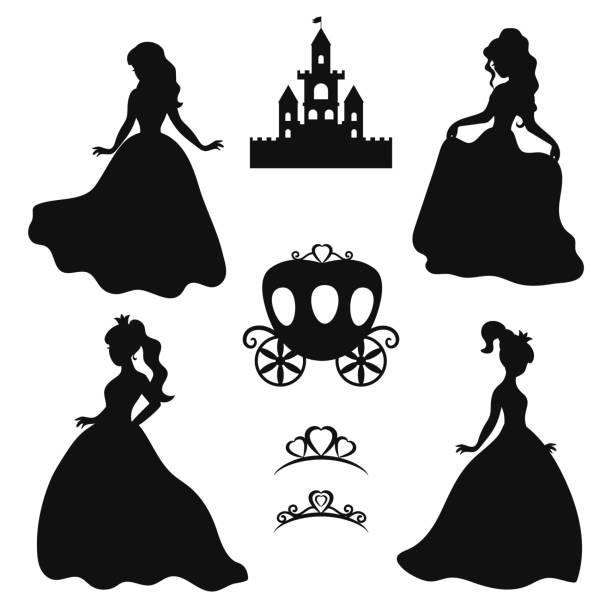 illustrazioni stock, clip art, cartoni animati e icone di tendenza di set of silhouettes of princess. - principessa
