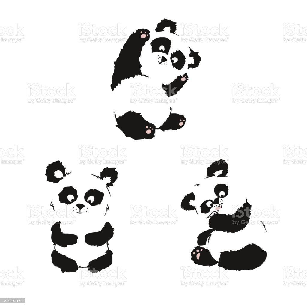 ilustração de conjunto de silhuetas de sentado filhotes de panda mão