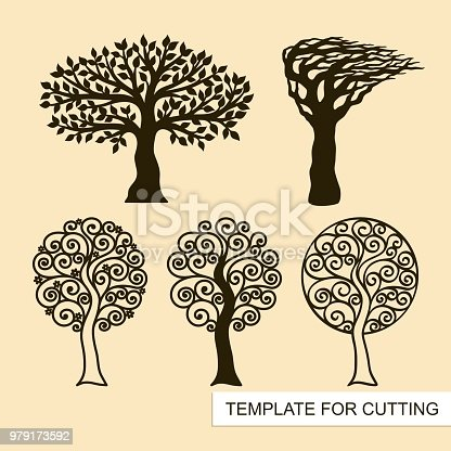 Sakura with flowers and curls. Template for laser cutting, wood carving, paper cut and printing. Vector illustration.