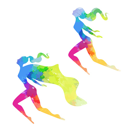 Set of silhouettes of women superheroes with rainbow watercolor stains. The rights of women and lesbians. Female power and independence. Vector object