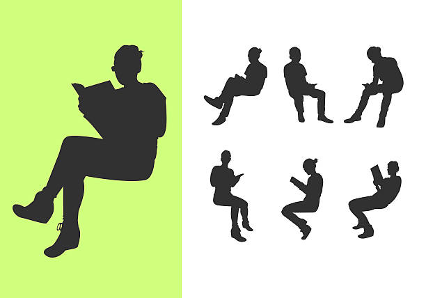 Set of silhouettes reading a book vector art illustration
