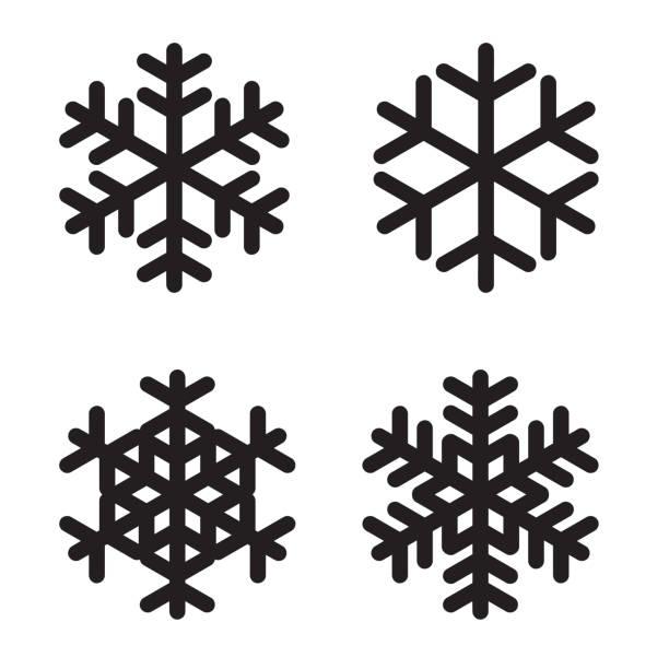 satz von silhouetten schneeflocken auf weiß. vektor-illustration - ferien  und feiertagssymbole stock-grafiken, -clipart, -cartoons und -symbole