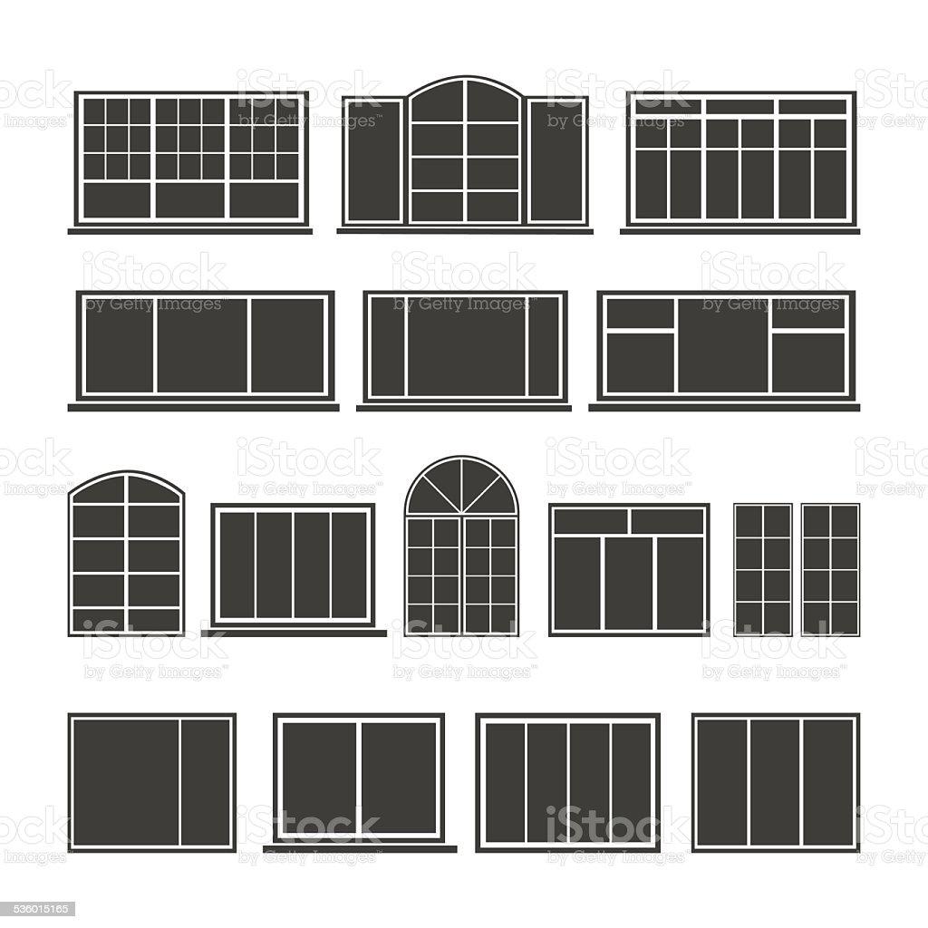 Set of silhouettes windows vector art illustration