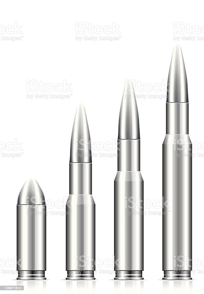 A set of silver bullets on a white background  vector art illustration
