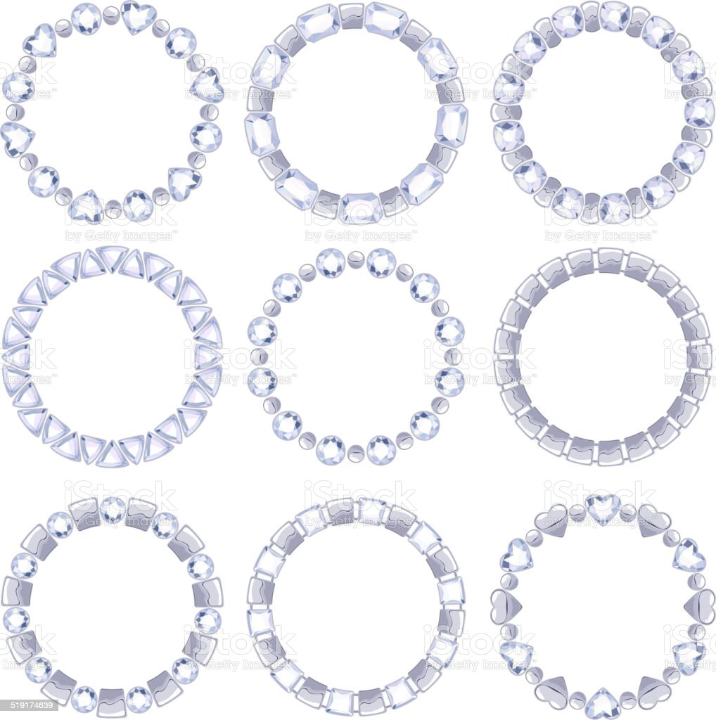 Set of silver chain frames with diamonds. Elements for design vector art illustration
