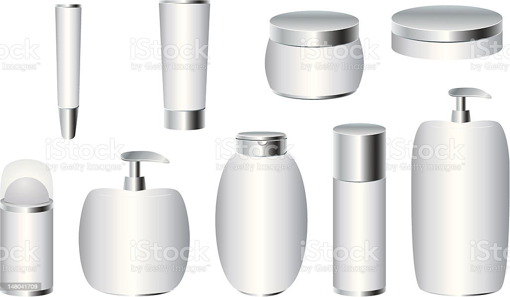 Set of silver cosmetic packages royalty-free stock vector art