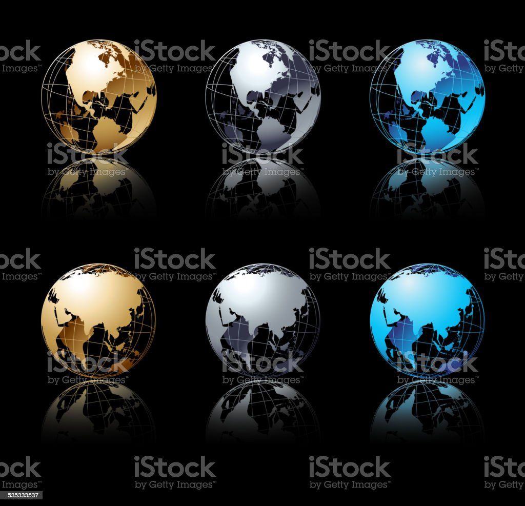 Set of silver, gold and blue globe in black background vector art illustration