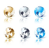 Set of silver, gold and blue isolated globe