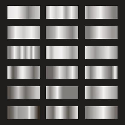 Set of silver gradient background vector texture metallic illustration