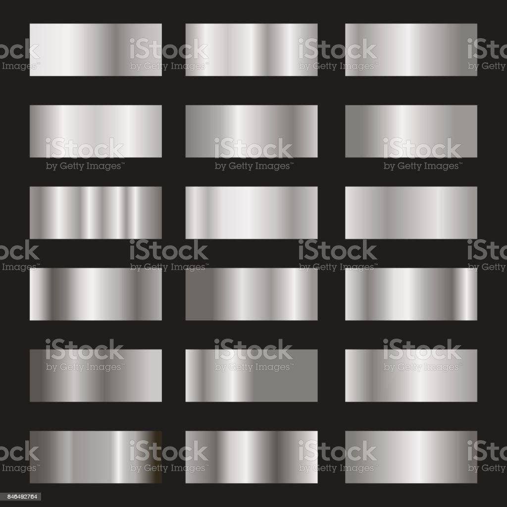 Conjunto de prata fundo gradiente vetor textura metálica ilustração - ilustração de arte em vetor