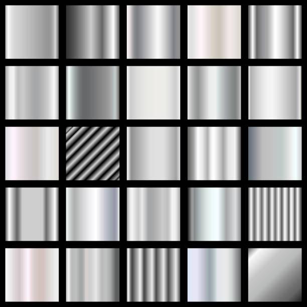 Satz von Silber Steigungen. Metallische Quadrate Sammlung. Metallische Texturen. – Vektorgrafik