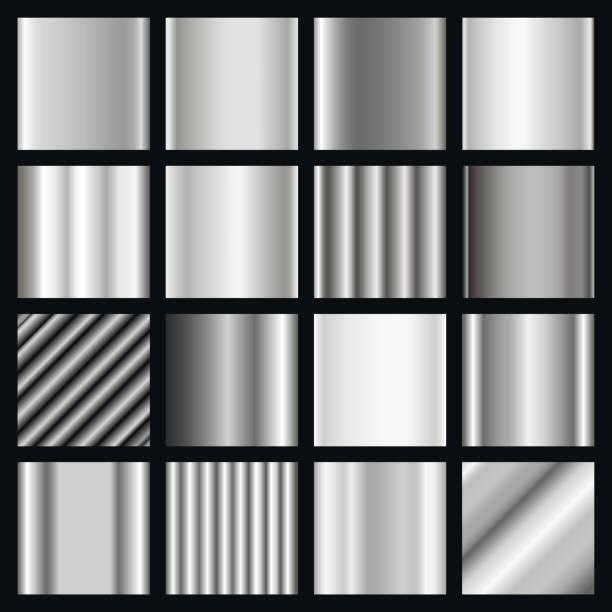 Satz von Silber Steigungen. Metallische Quadrate Sammlung. – Vektorgrafik