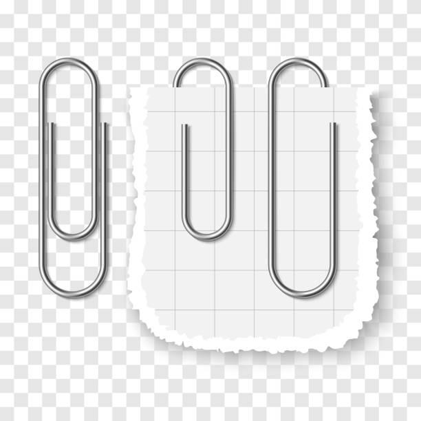 투명 한 바탕에 은색 금속 현실적인 종이 클립의 세트. - 종이 클립 stock illustrations