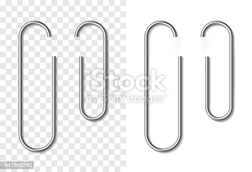Set of silver metallic realistic paper clip on white and transparent background. Paperclips with soft shadow. Template for your design