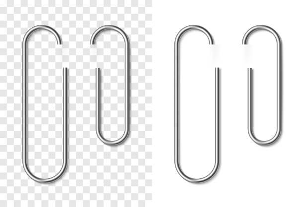실버 금속 현실적인 종이 클립의 세트 - 종이 클립 stock illustrations
