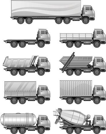 Set of silver trucks