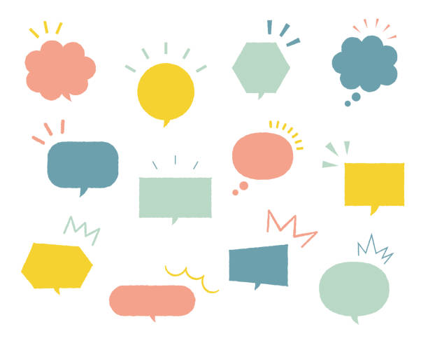 Set of simple and flat speech bubbles Set of simple and flat speech bubbles speech bubble stock illustrations