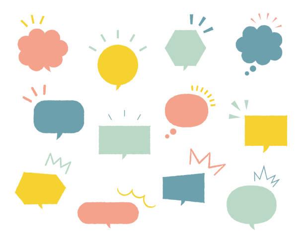 set von einfachen und flachen sprechblasen - sprechblase stock-grafiken, -clipart, -cartoons und -symbole