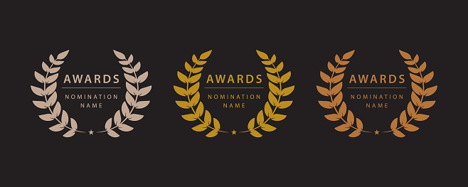 Set of simple award wreaths. Vector illustration