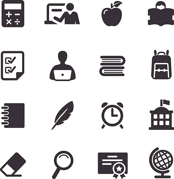 Set of simple black and white education icons View All: schoolhouse stock illustrations