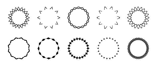 Set of simple black geometric frames, curly round frames. Geometric borders, black wreath, circle for highlights