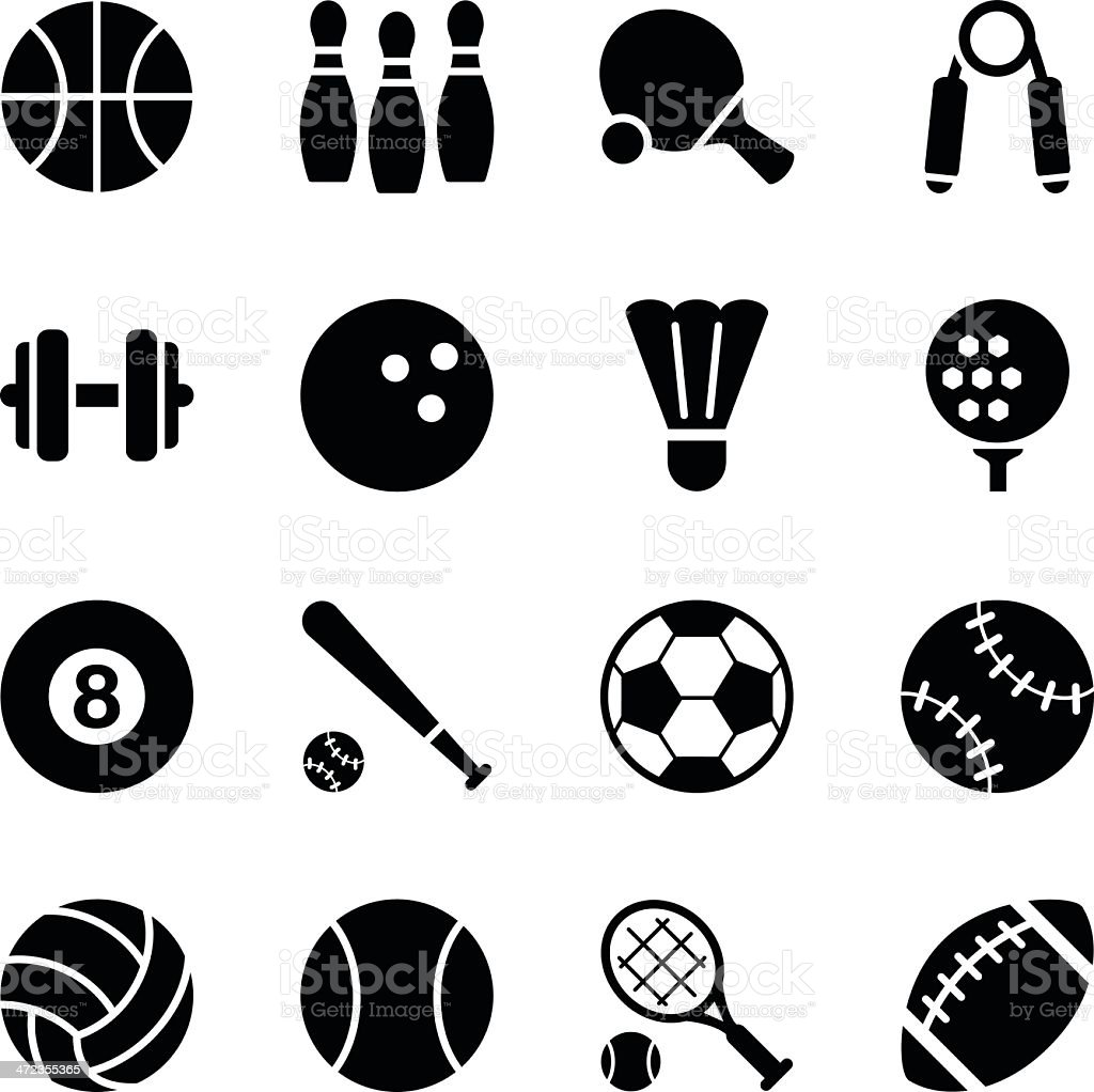Set of simple black sports icons vector art illustration