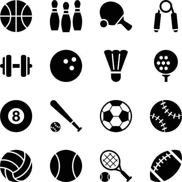 set of simple black sports icons - sports equipment stock illustrations, clip art, cartoons, & icons