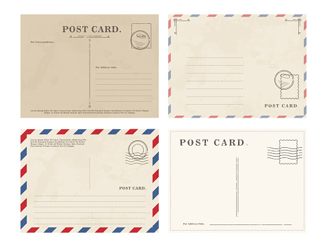 Composed graphic set of various postcards with blank writing area on white background