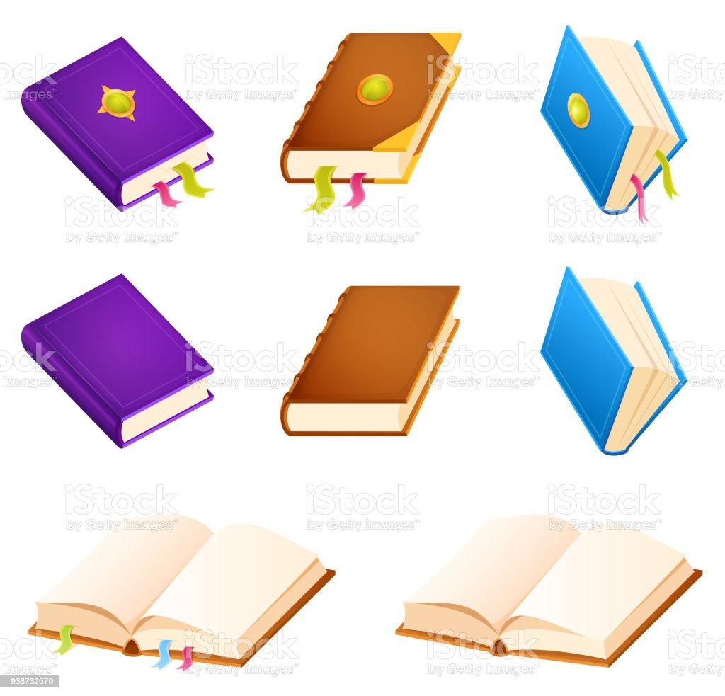 set of simple book illustrations vector art illustration