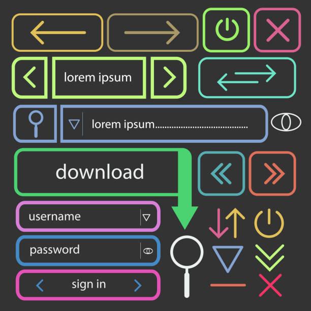 用於 web 設計向量 EPS10 的一組簡單按鈕向量藝術插圖