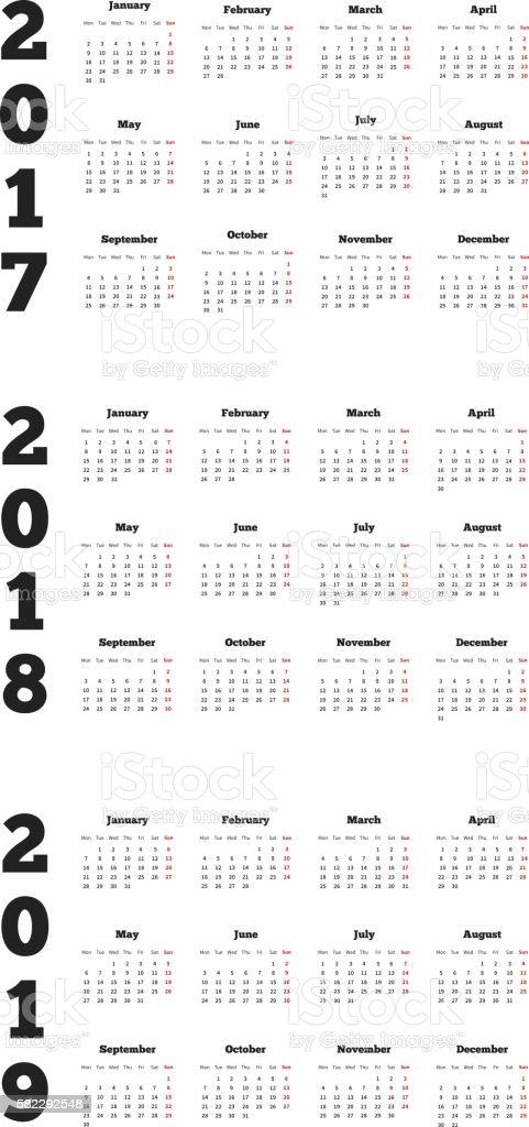 Set of simple calendars in english vector art illustration