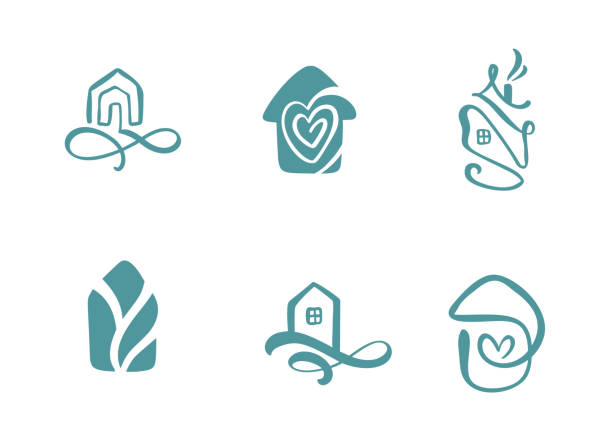 set of simple calligraphy houses hand drawn logo. real vector icons. estate architecture construction for design. art home vintage element - проживание с уходом stock illustrations