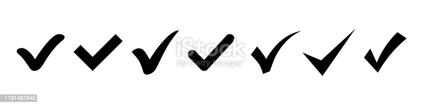 Set of Simple check mark. Black check mark icon. Tick symbol, vector illustrations. Accept okay symbol for approvement or checklist design