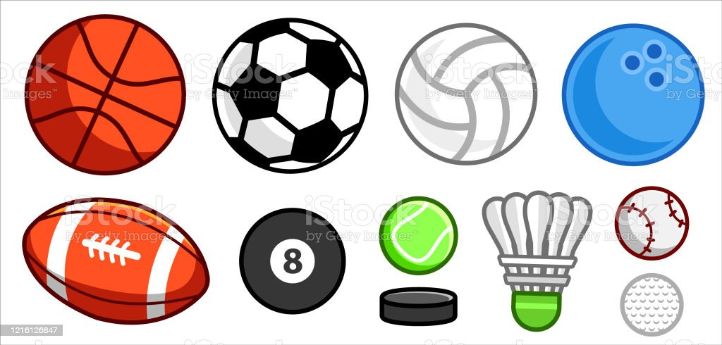 Set Of Simple Colourful Cute Cartoon Balls And Other Sport Objects Isolated Stock Illustration Download Image Now Istock